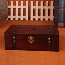Decorative Trinket Jewelry Tool Storage Box Vintage Wooden Chest Treasure Case