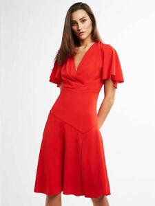 ELIE TAHARI NWT $378 Jila Flutter Sleeve Slit Detail Flamenco Dress Size 0