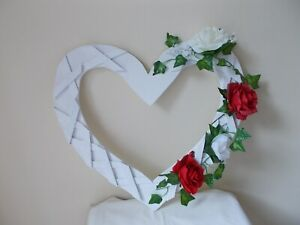 EXTRA LARGE WOODEN TRELLIS DESIGN STANDING OR  HANGING WEDDING HEART 50CM