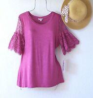 New~$68~Pink Ruffle Lace Sleeve Blouse Shirt Spring Boho Top~Size Medium M