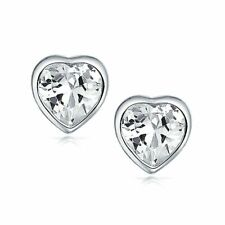 2 ct. White Sapphire Heart Bezel Stud Earrings set in Solid Sterling Silver