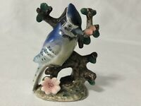 Wales Blue Jay on Branch Bird Figurine Small Japan 4""
