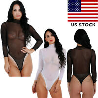 Women Mesh Sheer See-through Jumpsuit Long Sleeve Tops Shirt Turtleneck Bodysuit