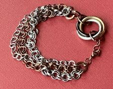 STAINLESS STEEL MULTI CHAIN CIRCLE BRACELET Brass Silver Gold Tone Chunky Estate