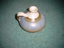 Wonderful Blue/Brown/White Flower Bud Vase with Handle pottery signed