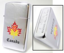 CANADA Slim zippo Niagara Falls Maple Leaf 1988 Fired Rare             520208b09