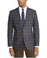 Nautica Men's Modern-Fit Active Stretch Gray/Blue Windowpane Sport Coat Size 40R