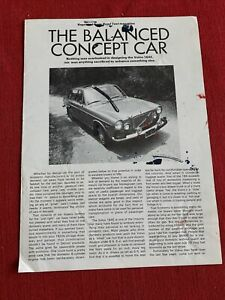 Re-printed article  Road Test  The Balanced Concept Car Volvo 164E fair