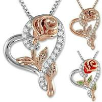 Love Jewelry Valentine Gifts Rose Flower Pendant Zirconia Necklace Heart