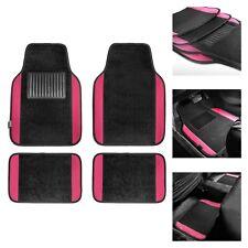Pink Black Carpet Floor Mats for Auto Car Sedan SUV Van Universal Fitment