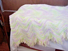 40 X30 BABY AFGHAN    HAND CROCHETED    ZIG ZAG PATTERN   PASTELS