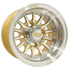 (1) Golf Cart Gtw Medusa 10 inch Machined and Gold Wheel With 3:4 Offset