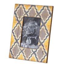 Photo Frame Wooden Yellow Patten Modern Vintage Country - Retro Yellow