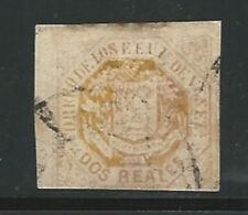 Venezuela: 1865; Scott 021, used with long borders 2 r. yellow. VE1906