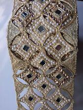 Attraente Indiano Cutwork specchi con Perle/Cristalli Trim/Lace-venduto dai METRI