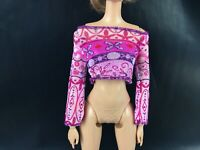 Barbie Doll Pink Top Mesh Like Shirt Clothes Replacement Blouse Cropped