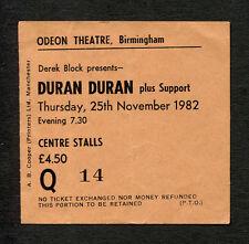 1982 Duran Duran concert ticket stub Birmingham UK Rio Tour Hungry Like The Wolf