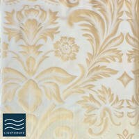 Luxury Shimmering Antique Gold French Floral Pencil Pleat Lined Curtain Pair