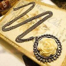 Tallado Rose cabujón Antiguo Collar De Estilo Vintage De Bronce Colgante Flor Cab
