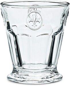 "Tumbler - (Glass) Fleur de Lis Design, Panel Tumbler 4"" high 8 oz"
