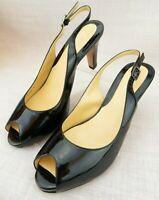 Cole Haan Slingback Pumps Black Patent Leather Peep Toe Heels Women's  7 B