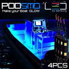 Blue 4pc Led Kit For Boat Marine Deck Interior Lighting