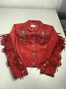 Women's Scully Red Leather Suede Fringe Jacket Size S