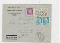france 1954 air mail to new york  stamps cover Ref 9783
