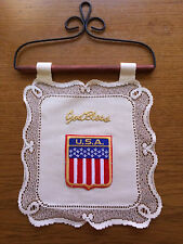 "Heritage Lace Ivory  ""God Bless & Flag""  Wall Hanging ""Nice"" (729)"