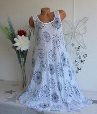 Italy Damen Sommerkleid Beachkleid Kleid Mandala Kreise Weiß Gr. 44-48