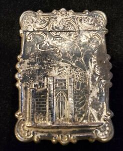 Circa 1850's Early Victorian Silver Castle Top Card Case Hand Worked