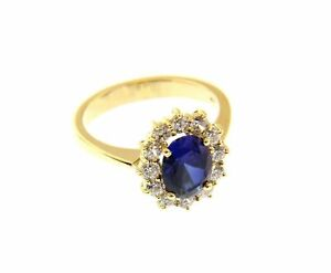 Yellow Gold Ring 18K, Flower With Crystal 9x7 MM And Frame Of Cubic Zircon