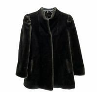 Vintage Luraseel Faux Fur Coat Jacket Gray Size 10 Medium
