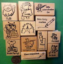 Teacher's German-Only 12-piece Rubber Stamp Assortment, Wood Mounted