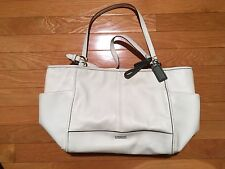 "Coach ""Prk Lthr Car Tote"" Ivory Pebbled Leather Purse - Authentic - VGUC / $378"