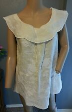 Meadow Rue Anthropologie White Creme Floral Embroidered Boho Linen Blouse Top 8