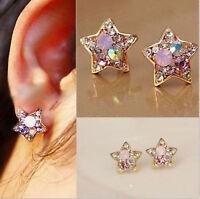 1Pair Fashion Elegant Women Colorful Rhinestone Crystal Star Ear Stud Earrings