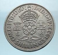 1937 United Kingdom Great Britain GEORGE VI Silver Florin 2Shillings Coin i77860