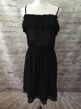 NEW  H&M Women's  Black Sheer Dot Ruffle Boho Sleeveless Sundress - Size 10