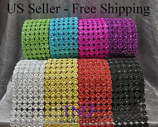 "3.75"" x 1 YD/3 YDS/10 YDS FLOWER DIAMOND MESH WRAP ROLL RHINESTONE BLING RIBBON"