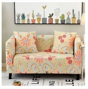 Printed Sofa Cover Slipcovers for 2 Seater - BEIGE