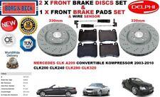 Para Mercedes CLK200 CLK280 CLK320 CLK Delantero Discos De Freno Kit Set + almohadillas + Sensor