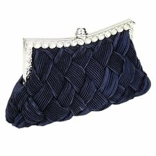 Navy Blue Satin Clutch Bag Crystal Wedding Prom Party Evening Ladies Handbag New