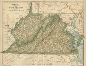 VIRGINIA & WEST VIRGINA Map: 1891 Towns County Canals Railroads Area Population