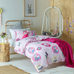 Girls Double Bed Quilt Cover Set Forest Friends Pink Jiggle and Giggle Kids Room