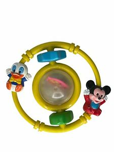 Disney Rattle Toy Mickey Mouse Donald Duck Pluto Vintage 1985 Toy