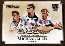 2013 NRL Traders Micheal Luck Retirements (R8) Warriors MINT! FREE Postage!
