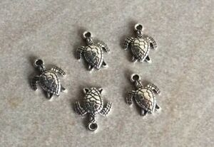Antique Silver Turtle Charms, 5pcs, 18x12mm,  One Sided, Jewellery Making