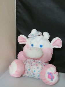 1999 Fisher Price Care For Me Puffalumps Pink Cow Baby Calf Stuffed Animal Plush