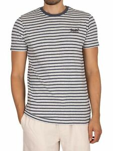 Superdry Men's Original Logo Stripe T-Shirt, Blue